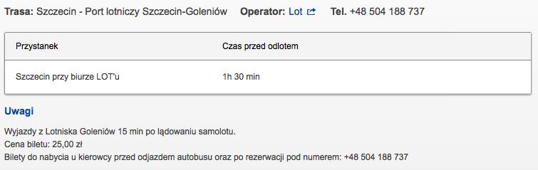 Bus Lot Szczecin Goleniow