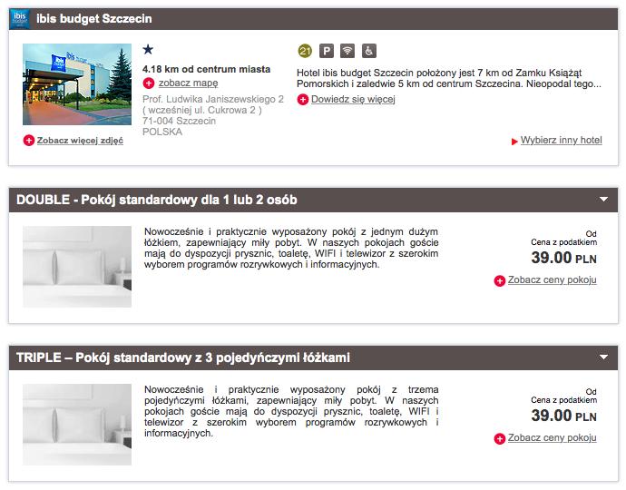 Hotel ibis budget Szczecin rezerwacja 39 zl