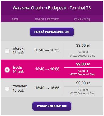 1 Warszawa Budapeszt Wizzair pazdziernik 2015