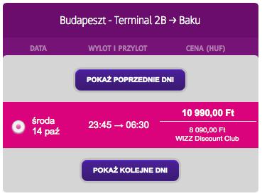 2 Budapeszt Baku Wizzair pazdziernik 2015