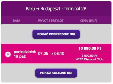 3 Baku Budapeszt Wizzair pazdziernik 2015