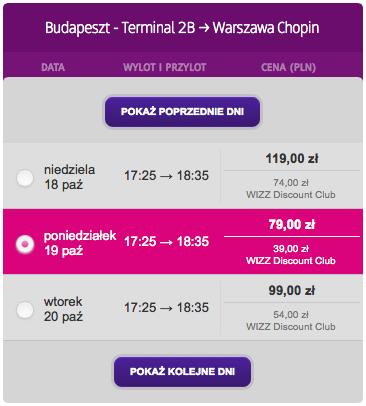 4 Budapeszt Warszawa Wizzair pazdziernik 2015