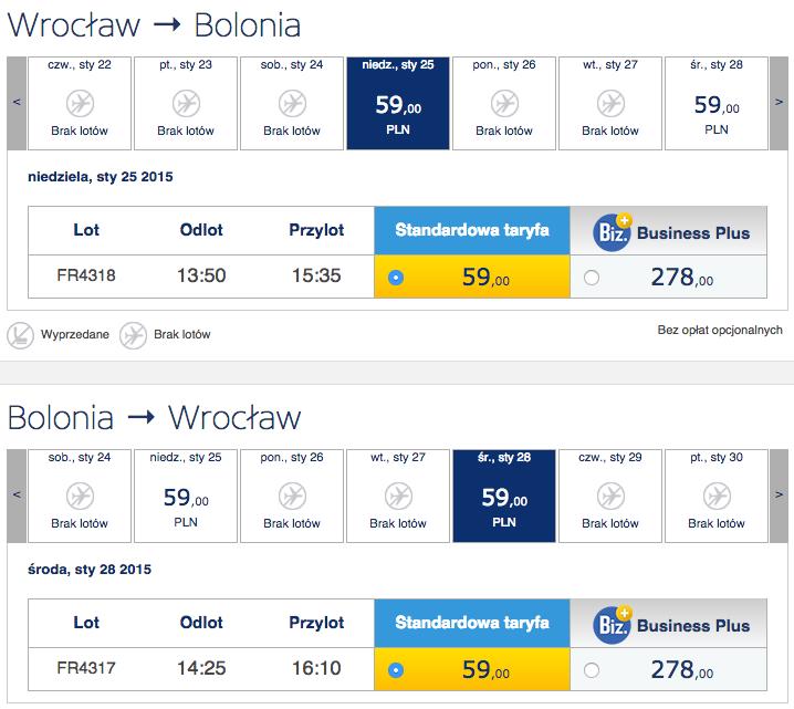 2015-01-25 Szczecin Wroclaw Bolonia ryanair