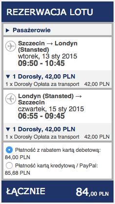 2015-01-13 Loty do Londynu Stansted ze Szczecina za 84