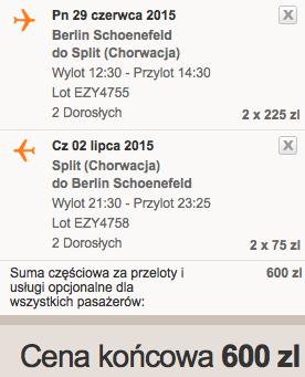 2015-06-29 Split Chorwacja tanio easyjet