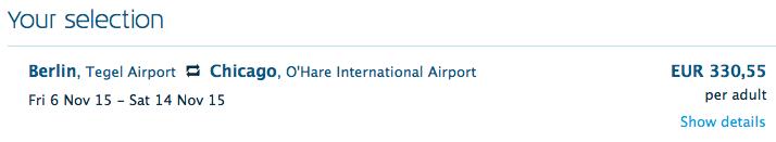 2015-11-06 KLM Berlin Chicago cena
