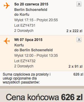 2015-06-20 Berlin Korfu easyjet 2 tygodnie loty dluzej