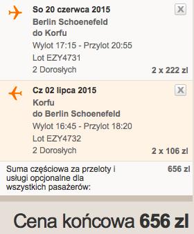 2015-06-20 Berlin Korfu easyjet 2 tygodnie loty