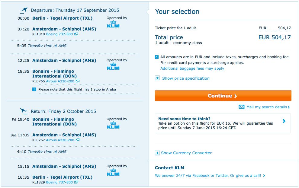 2015-09-17 Berlin Bonaire Karaiby KLM