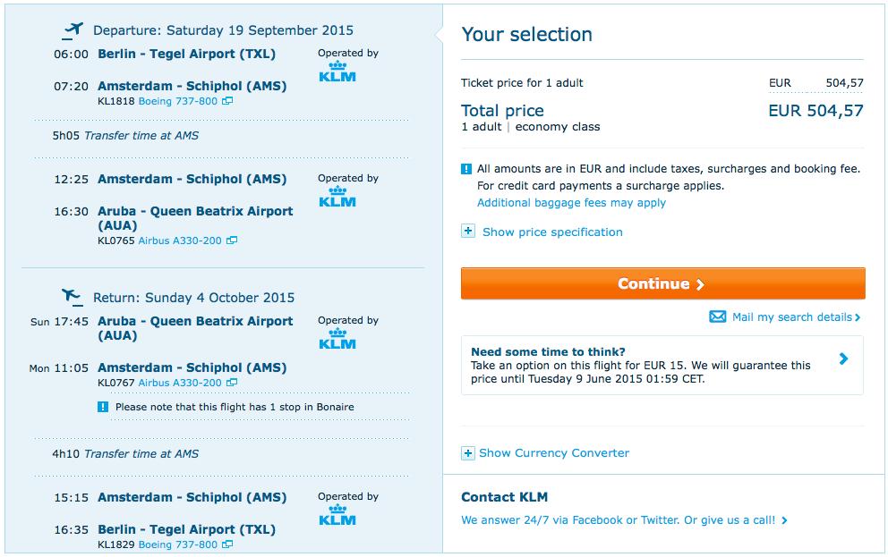 2015-09-19 Berlin Aruba Karaiby KLM