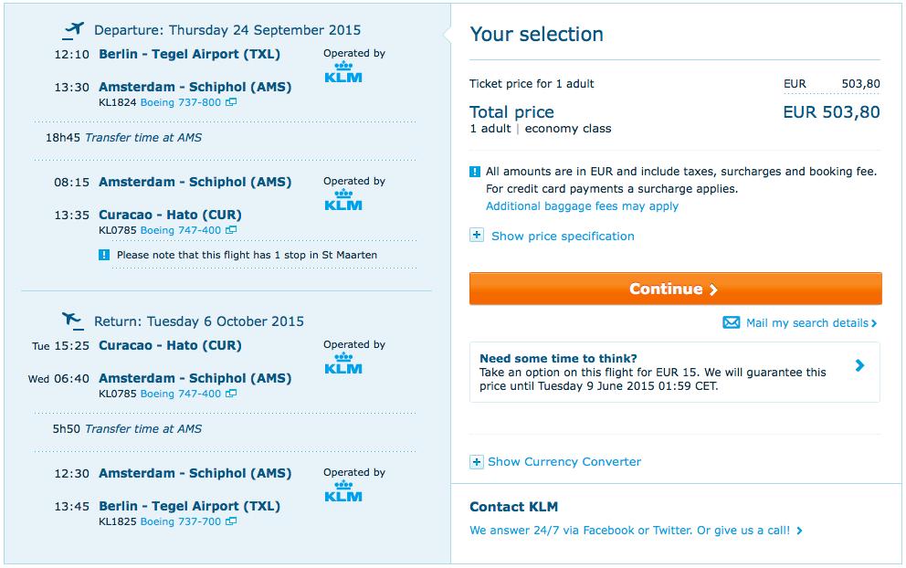 2015-09-24 Berlin Curacao Karaiby KLM