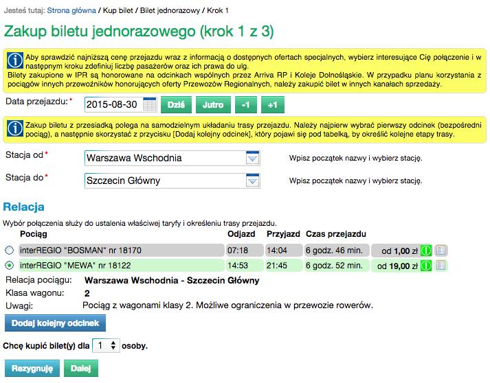 2015-08-30 Przewozy Regionalne Szczecin Warszawa interRegio
