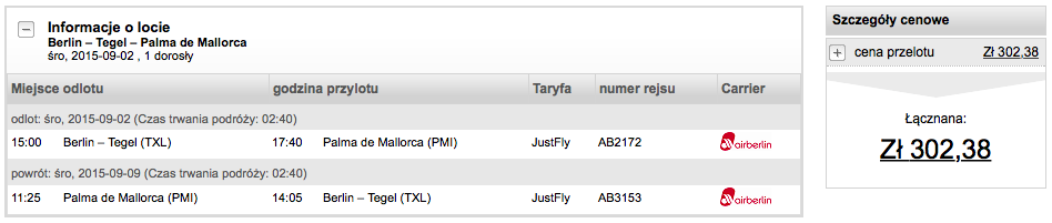 2015-09-02 Berlin Tegel Palma de Mallorca 300 zl Air Berlin