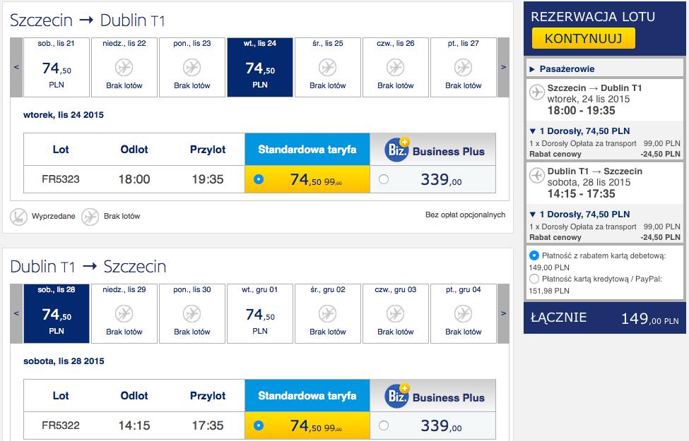 2015-11-24 Szczecin Dublin loty Ryanair 149 zł RT