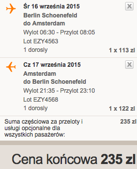 2015-09-16 Berlin Amsterdam easyjet wrzesien 203 zl samotnie
