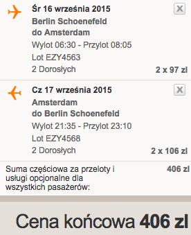 2015-09-16 Berlin Amsterdam easyjet wrzesien 203 zl we dwoje