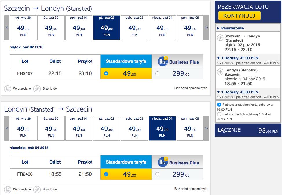 2015-10-02 Szczecin Londyn Ryanair 98 zl RT