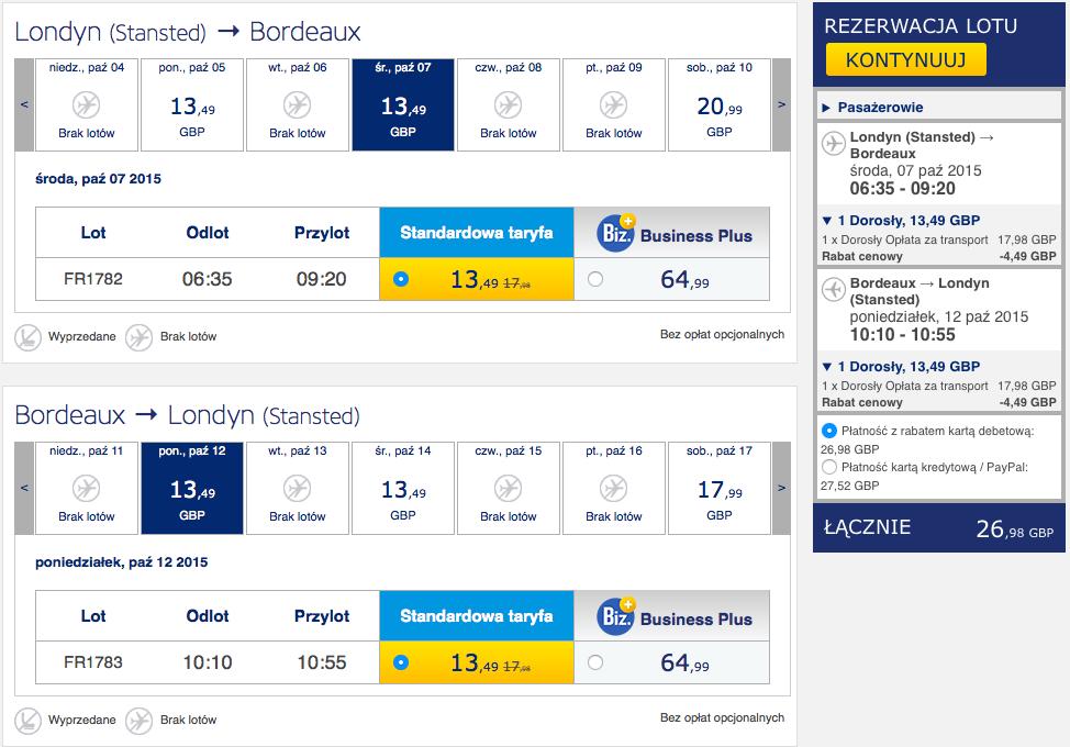 2015-10-06 Szczecin Londyn Bordeaux Ryanair 260 zl RT 1