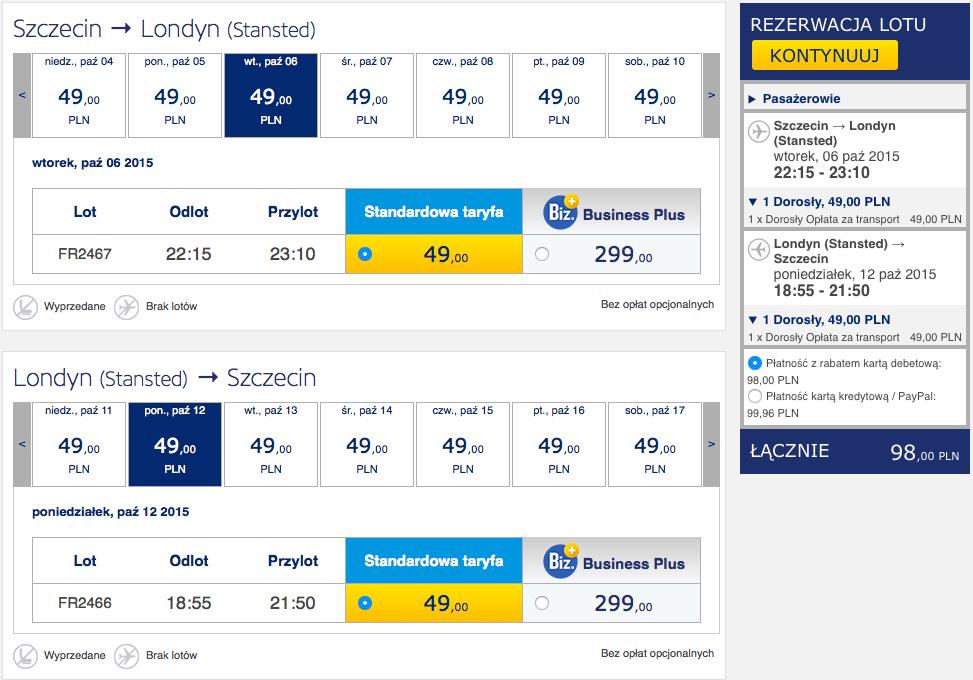 2015-10-06 Szczecin Londyn Bordeaux Ryanair 260 zl RT 2
