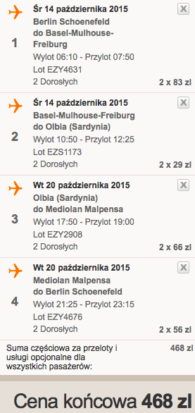 2015-10-14 Berlin Olbia przesiadki easyJet 238 zł RT