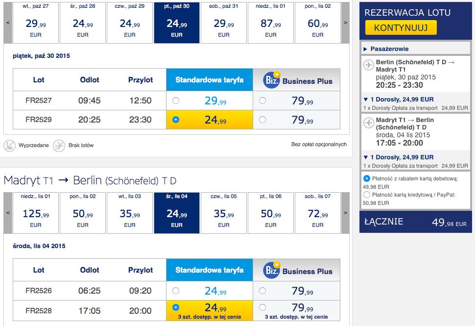 2015-10-30 Berlin Madryt Ryanair 210 zl RT