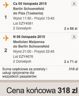 2015-11-05 Berlin Piza Mediolan easyjet we dwoje