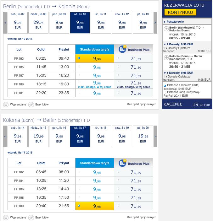 2015-11-10 Berlin Kolonia Skopje Ryanair Wizz Air 170 zl RT 1
