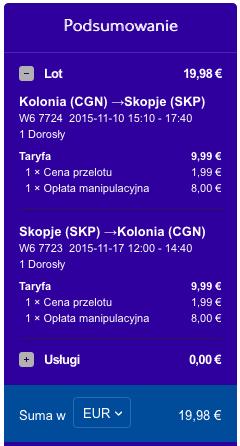 2015-11-10 Berlin Kolonia Skopje Ryanair Wizz Air 170 zl RT 2