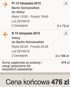 2015-11-13 Berlin Ateny easyJet we dwoje weekend