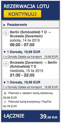 2015-11-14 Berlin Bruksela sobota niedziela weekend ryanair 168 zl tr