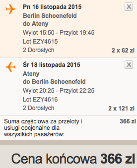 2015-11-16 Berlin Ateny easyJet we dwoje