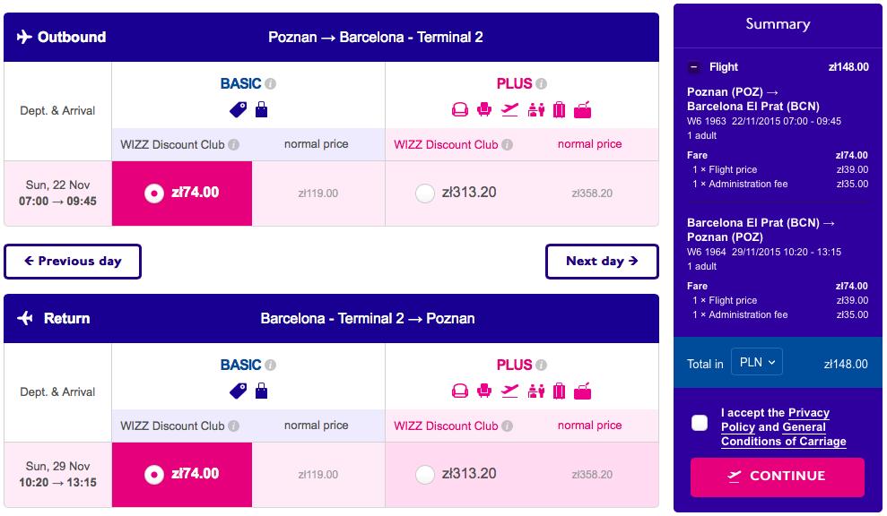 2015-11-22 Barcelona z Poznania 158 zl RT Wizz Air