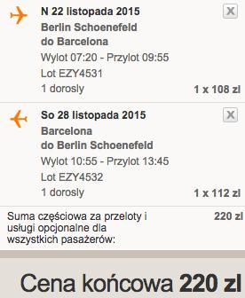2015-11-22 Berlin Barcelona 220 zl easyJet samotnie