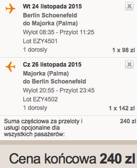 2015-11-24 Berlin Palma de Mallorca easyJet 240 zł RT samotnie