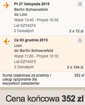 2015-11-27 Berlin Lyon easyjet 176 zl tydzien