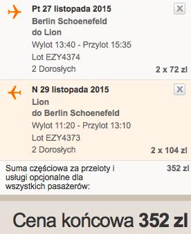2015-11-27 Berlin Lyon easyjet 176 zl weekend