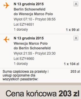 2015-12-13 Wenecja Marco Polo z Berlina za 203 zl RT samotnie
