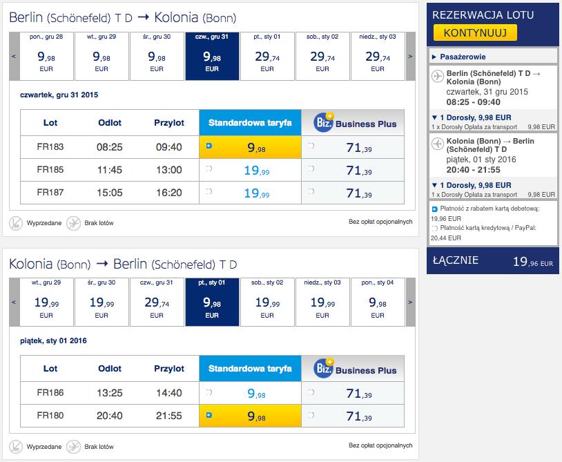 2015-12-31 Berlin Kolonia Sylwester 86 zl RT Ryanair