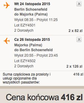 2015.11.24 Berlin Palma de Mallorca easyJet 208 zł RT