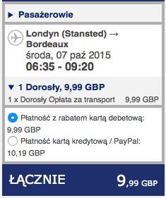 2015-10-06 Szczecin Londyn Bordeaux 198 zl Ryanair 2