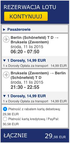 2015-11-11 Berlin Bruksela BRU Ryanair 128 zl RT jednodniowka