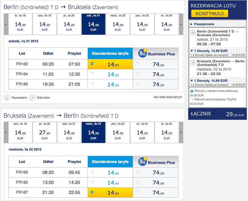 2015-11-11 Berlin Bruksela BRU Ryanair 128 zl RT weekend