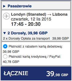 2015-11-12 Szczecin Lizbona Azory loty za 264 zl RT Ryanair easyJet 2