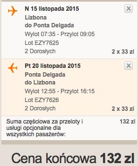 2015-11-12 Szczecin Lizbona Azory loty za 264 zl RT Ryanair easyJet 3