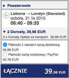 2015-11-12 Szczecin Lizbona Azory loty za 264 zl RT Ryanair easyJet 4