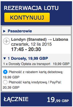 2015-11-12 Szczecin Lizbona Azory loty za 264 zl RT Ryanair easyJet samotnie 2