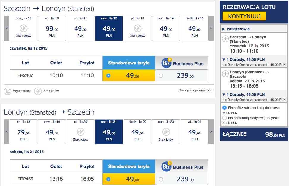 2015-11-12 Szczecin Lizbona loty za 298 zl RT Ryanair 1
