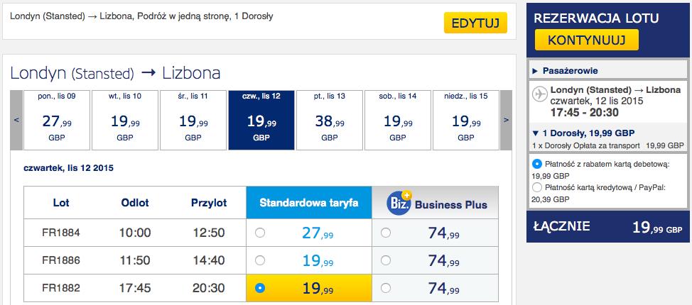 2015-11-12 Szczecin Lizbona loty za 298 zl RT Ryanair 2