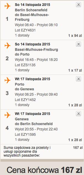2015-11-14 Berlin Porto Bazylea Genewa easyJet 135 zl RT samotnie