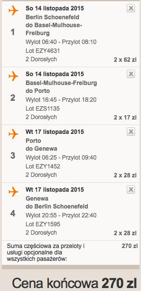 2015-11-14 Berlin Porto Bazylea Genewa easyJet 135 zl RT